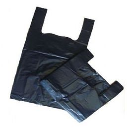 BLACK Plastic Vest Carrier Bags Small 11x17x21""